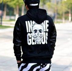 Black skull hip hop hoodies for boys pullover design star sweatshirt