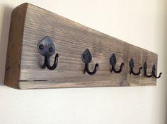 Key rack reclaimed wood key rack iron hooks by SpudsCreativeAsylum Towel Hooks, Towel Rail, Wood Rack, Storage Hooks, Key Rack, Repurposed Wood, Pallet Furniture, Tea Towels, Wrought Iron