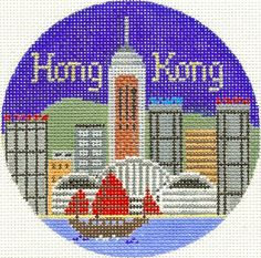 "Silver Needle HONG KONG handpainted 4.25"" Round Needlepoint Canvas Ornament"