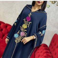 Moroccan Caftan, Couture, Hand Embroidery, Designer Dresses, Bell Sleeve Top, Sari, Crochet, Caftans, Pattern