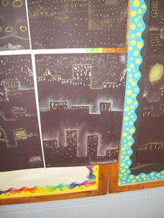 #cityscape #art  I gave each student a template and they put the template on their black construction paper (starting at the top of construction paper). The...