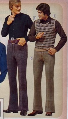 1970s men's casual clothing, i pinned this because the high waist line of the pants caught my attention.