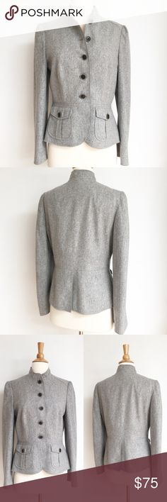 """⭐️Like New⭐️ Banana Republic Gray Military Blazer Blazer has been gently worn and and in perfect like new condition. It has been recently dry cleaned. The outer is 80% wool and 20% nylon. The lining is 52% rayon and 48% acetate. The length of the blazer is approximately 24 inches and the bust measurement from armpit to armpit is approximately 18.5"""" across. Banana Republic Jackets & Coats Blazers"""