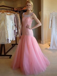 Cheap Long Prom Dresses,Trumpet/Mermaid Formal Dresses,Scoop Neck Tulle Sequined Pink Evening Dresses,Sweep Train Beading Party Gowns,Backless Girls Dress
