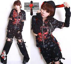 Jrock Hell KITTEN Rock ME Visual Kei String EMO Jacket