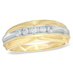 Men's 1/4 CT. T.W. Diamond Five Stone Wedding Band in 10K Gold