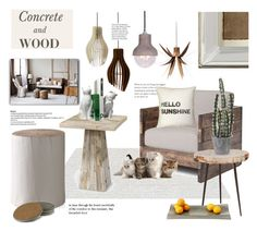 """""""Update your Den with Concrete and Wood.."""" by angiesprad ❤ liked on Polyvore featuring interior, interiors, interior design, home, home decor, interior decorating, CB2, Nearly Natural, Danya B and Dot & Bo"""