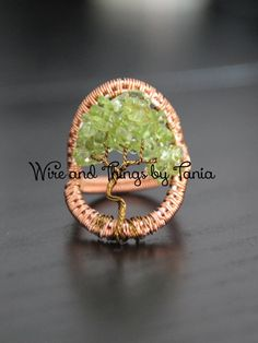 Tree of Life wire wrapped Peridot chips ring by WireandthingsByTania on Etsy