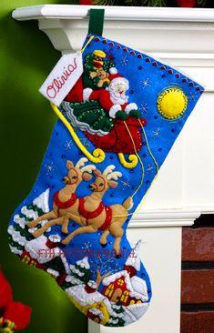 "Over The Rooftops 18"" Bucilla Felt Christmas Stocking Kit #86450 | FTH Studio InternationalFTH Studio International"
