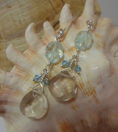 Aquamarine Leaves with Rutilated Quartz Briolettes and Swarovski Crystal on Sterling SIlver