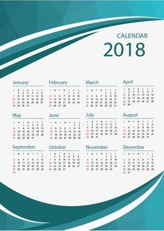 2018 Calendar Template, Calendar 2018, Creative Calendar, Calendar Design, Wall Calender, Business Calendar, 2017 Planner, Special Images, Green Business