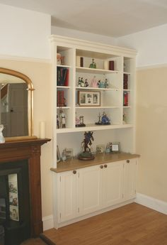 Bespoke Alcove Cabinet with Fitted Dresser-style Bookshelves Unit Living Room Tv Unit, Living Room Cabinets, Cottage Living Rooms, Living Room Shelves, Living Room Storage, Boho Living Room, Home And Living, Alcove Cabinets, Built In Cupboards