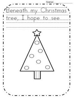 Freebie Christmas tree writing page Kindergarten
