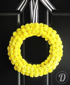 DIY Peeps Wreath || love the addition of the black and white stripe ribbon. To die for!