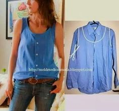 Refashion A Men's Shirt Into A Summer Top . other refashion ideas too .- Refashion A Men's Shirt Into A Summer Top … other refashion ideas too ………. Refashion A Men's Shirt Into A Summer Top … other refashion ideas too …………. Diy Vetement, Diy Mode, Old Shirts, Creation Couture, Diy Clothing, Clothes Refashion, Refashioned Clothes, Men's Shirt Refashion, Diy Shirt