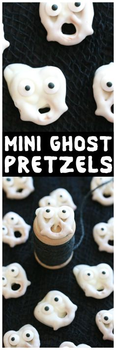 Turn ordinary pretzels into these spooky Mini Ghost Pretzels using just three ingredients. They're so easy to make it's almost scary! via @simplymommy