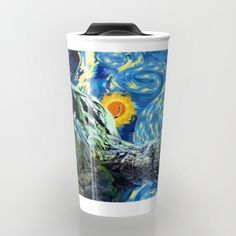 Guardian of the starry night Travel mug #travelmugs #guardianofthegalaxy #starlord #mask #groot #gamora #ronan #theavengers #marvelavengersalliance #comic #rocketraccoon #babygroot #dancing #iamgroot #vangogh #starrynight #art #artpainting #digitalpainting