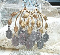 mary earrings religious medal assemblage bold by lilyofthevally