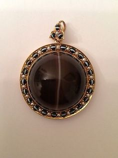 Exceptional Finest Antique Victorian 15ct Gold Banded Agate & Seed Pearl Pendant