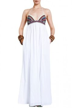 mara hoffman embroidered halter maxi - with pockets