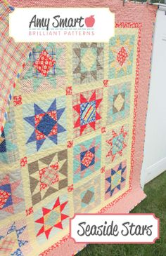 Seaside Stars by Amy Smart. I could make all the stars for variety, but use half of them for a baby quilt. Star Quilt Patterns, Star Quilts, Scrappy Quilts, Quilt Blocks, Star Blocks, Sampler Quilts, Easy Quilts, Rose Patterns, Jellyroll Quilts