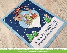 Today we have a gorgeous holiday card by Chari ! Her card features a sweet Winter Village  scene on a Stitched Ornament !       I love th...