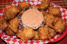 Fleur de Lolly: Crabmeat and Shrimp Fritters with Creole Tomato Dressing Creole Recipes, Cajun Recipes, Fish Recipes, Seafood Recipes, Appetizer Recipes, Cooking Recipes, Recipies, Cajun Cooking, Curry Recipes