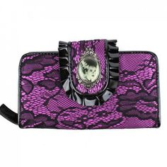 Bride of Frankenstein Purple & Black Lace Wallet Frankenstein's Bride in an ornate chrome metal frame on the faux leather ruffle closure of this purple wallet stitched with black lace. Clear ID pocket
