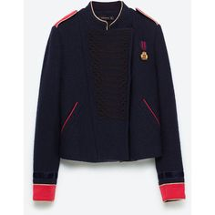 NAVY DOUBLE BREASTED JACKET - Jackets-OUTERWEAR-WOMAN   ZARA United... (425 SEK) ❤ liked on Polyvore featuring outerwear and jackets