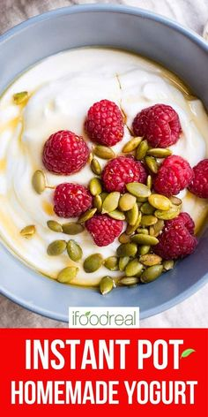 How to make Instant Pot Yogurt with just 2 ingredients! Check out how to make yogurt without a yogurt button, Greek yogurt, vanilla yogurt, cream cheese and what to do with leftover whey. Healthy Brunch, Healthy Breakfast Recipes, Brunch Recipes, Healthy Recipes, Recipes Dinner, Healthy Desserts, Healthy Eats, Easy Cooking, Cooking Recipes