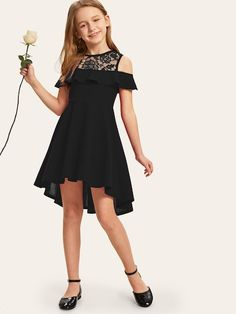 To find out about the Girls Embroidered Mesh Yoke Dip Hem Dress at SHEIN, part of our latest Girls Dresses ready to shop online today! Dresses Kids Girl, Cute Girl Outfits, Kids Outfits Girls, Cute Dresses, Fancy Dresses For Tweens, Preteen Girls Fashion, Girls Fashion Clothes, Girl Fashion, Fashion Outfits