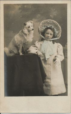 POMERANIAN SPITZ & YOUNG GIRL REAL PHOTO DOG POSTCARD LOUISE M SMITH NEWPORT