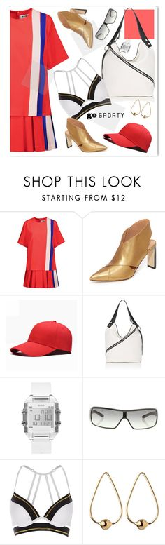 """Sporty"" by nantucketteabook ❤ liked on Polyvore featuring MSGM, Sigerson Morrison, Proenza Schouler, GUESS, Prada, River Island, Jennifer Fisher, sporty and prettyunderpinnings"