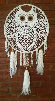 Crochet Dreamcatcher Pattern Free, Owl Crochet Patterns, Crochet Earrings Pattern, Owl Patterns, Crochet Home, Diy Crochet, Crochet Crafts, Crochet Doilies, Crochet Projects