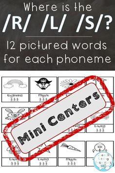 Mini-Centers are quick starters or screeners for speech therapy. Your student will use this activity to improve discrimination and identification of the /r/, /l/, and /s/ in all positions of words. Articulation Therapy, Articulation Activities, Speech Therapy Activities, Paragraph Writing, Persuasive Writing, Writing Rubrics, Opinion Writing, Speech Language Pathology, Speech And Language
