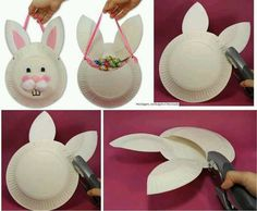 Paper plate bunny bags.  Cute!