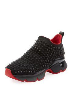 ea7a83f7143 Christian Louboutin Krystal Spike Sock Donna Flat Neoprene Sneakers ...