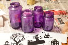 DIY Upcycled Halloween Village Luminaries Craft via @ohsosavvymom