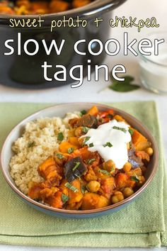 Sweet potato and chickpea slow cooker tagine - this Moroccan stew couldn't be easier! Just throw your veggies and spices in the Crock-Pot and you're done. Vegan / vegetarian, and full of North African flavour! #moroccanfood #northafricanfood #vegetarianrecipes #healthyvegetarian #crockpottagine #slowcookertagine #crockpot #slowcooker #veganfood #vegetarianfood