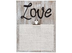 Washed White Love Plaque with Clip