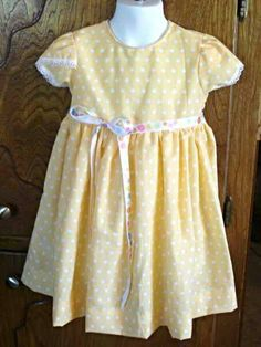 #craftshout0406 Check out this item in my Etsy shop https://www.etsy.com/listing/228809961/yellow-dots-girls-dress-girl-clothes