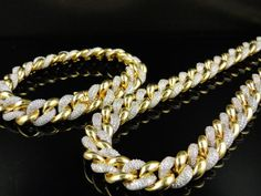 New Yellow Sterling Silver Simulated Diamond Miami Cuban Chain Bracelet Set $1,650 via @Shopseen