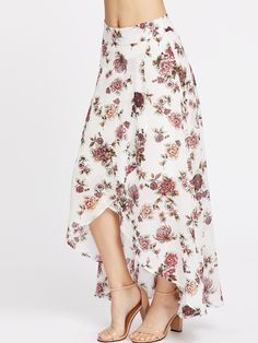 SheIn offers High-Low Hemlines Floral Skirt & more to fit your fashionable needs. Hot Outfits, Skirt Outfits, Dress Skirt, Fashion Outfits, Fashion 2017, Chambray Skirt, Gala Dresses, Summer Dresses, Teen Fashion
