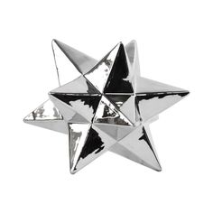 """Urban Trends Collection Ceramic 12-Point Great Icosahedron Polished Chrome Sculpture (Silver; 6.25x6.25""""x5.75""""H)"""