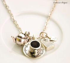 teapot+necklace++charm+necklace++time+for+a+hot+by+LoriennaDesigns,+$11.00