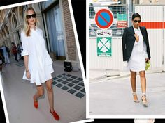PRADA WHITE SHIRT DRESS PLEAT PUFF SHOULDERS STREET STYLE 3/4 SLEEVE 38  #Prada #ShirtDress #Casual