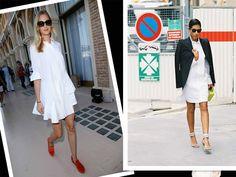 PRADA WHITE SHIRT DRESS PLEAT SKIRT PUFF SHOULDER STREET STYLE 3/4 SLEEVE IT38  #Prada #ShirtDress #Casual
