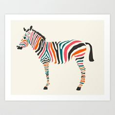 great as a print, also as pillow.  Society 6 site--Zebra Art Print by Jazzberry Blue - $19.00