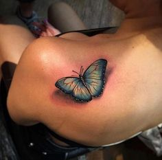 3D Back Shoulder Butterfly Tattoo by Alex Bruz