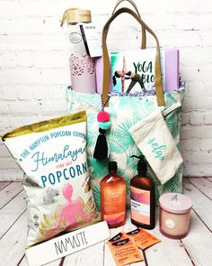 This is perfect for all the yogis out there ! Namaste Corporate Gifts, Gift Baskets, Customized Gifts, Namaste, The Hamptons, Pink, Sympathy Gift Baskets, Personalized Gifts, Promotional Giveaways
